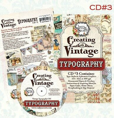 CREATING WITH VINTAGE TYPOGRAPHY CD#3-Crafty Secrets-Digital Papers/Templates