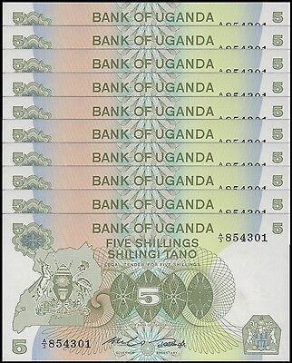 Uganda 5 Shillings X 10 Pieces - PCS, 1982,  P-15, UNC
