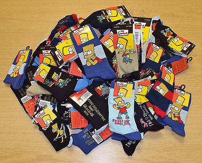 6 Pairs Of Boys Assorted Bart Simpson Socks Shoe Sizes 3-5, 6-8, 9-12, 12-3, 4-5