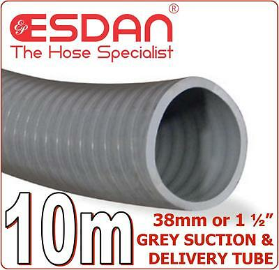 """Suction Delivery Hose Grey 38mm 1 1/2"""" x 10m Discharge Heavy Duty Sullage PVC"""