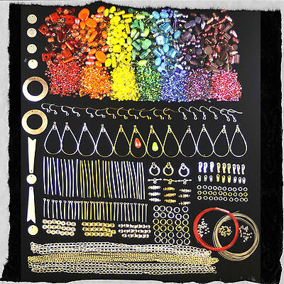 Rainbow Coloured Beads and Findings Kit