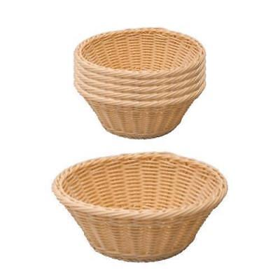 6x Bread Basket, Dishwasher Safe Plastic, Round, Serving Parties Catering 230mm