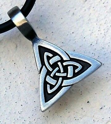 Triquetra Celtic Cross leather cord Necklace pagan wiccan New Age Jewellery