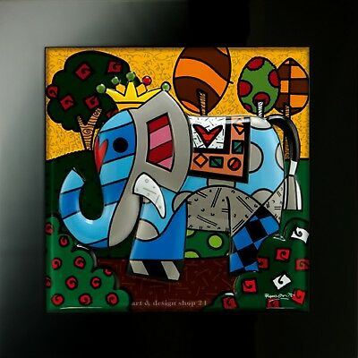 "ROMERO BRITTO - POP ART KUNST aus Miami - ""Great India"" - limitiertes Reliefbild"