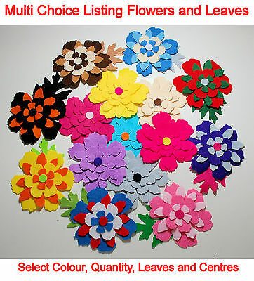Felt Flower Leaves Mixed Colours Embellishments Toppers Die Cuts Pink Red Blue