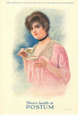 Postum  -  Pretty Lady  -   Large Full Page Ad   -  1917