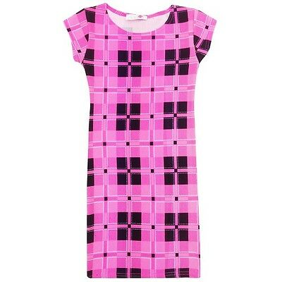 New Girls Kids Pink Black Tartan Midi Bodycon Summer Dress Age 7 8 9 10 11 12 13