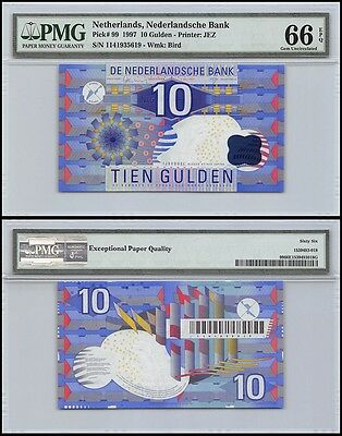 Netherlands 10 Gulden, 1997, P-99, Bird, PMG 66