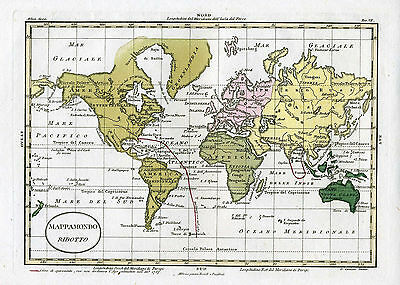 "1820 Genuine Antique Hand Colored Map of the World ""Mappamondo"" Luigi Rossi"