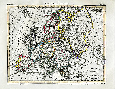 "1820 Genuine Antique Hand Colored Map Europe. ""Carte di Europa"" Luigi Rossi"