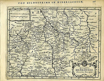 1651 Antique map of N.central Germany, Hildesiensis, Hannover.  Mercator/Jansson