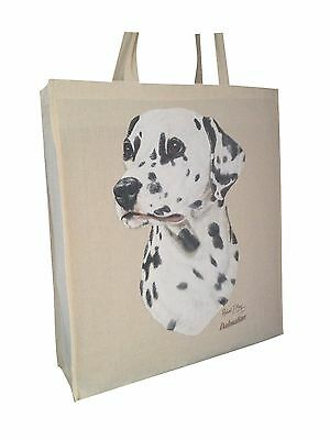 Dalmatian (b) Cotton Shopping Bag with Gusset and Long Handles Perfect Gift