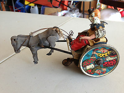 Lehmann Clown Donkey Cart Bulky Mule Windup Tin Toy Penny Toy