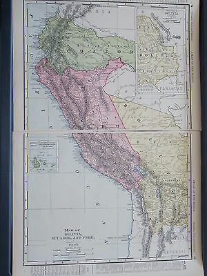 1896 LARGE McNally   Antique MAP BOLIVIA ECUADOR PERU  DATED
