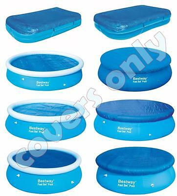 Bestway 8ft/10ft/12ft Fast Set Swimming Round Rectangular Paddling Pool Covers