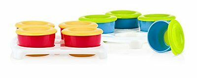Nuby Garden Fresh Food Storage and Freezer Pots with Tray , New, Free Shipping