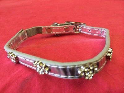 Cat kitten Collar 4 Diamante Paws SILVER & Bell Quick Release Safety Elastic