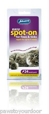 Johnsons 24 Week Cat Flea Treatment Spot on Drops Repellent Remedy