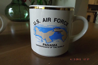 12oz. U.S. Air Force and Panama Gold Rimmed Colored Coffee Cup