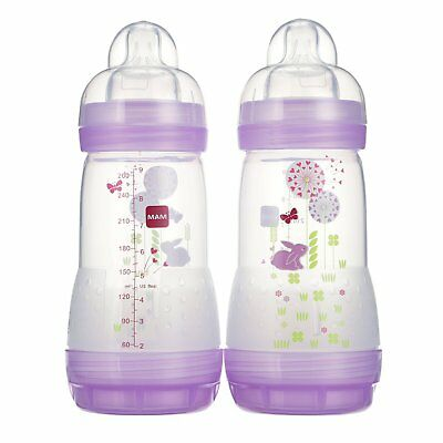 MAM Anti-Colic Bottle, Girl Colors, 9 Ounce, 2-Count , New, Free Shipping