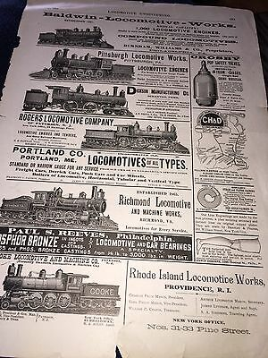 1894 MAY LOCOMOTIVE ENGINEERING RAILROAD ADVERTISMENTS ADS FRONT & BACK