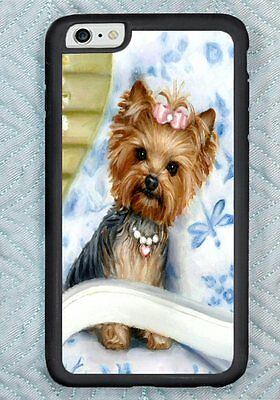 iPHONE 6 YORKIE blue COVER ART for apple painting RUBBER Yorkshire Terrier