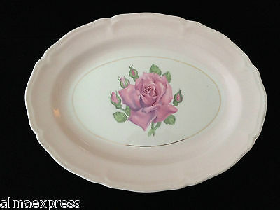 """Edwin KNOWLES KN0601 China Scalloped Rose Pink 12"""" OVAL SERVING PLATTER"""