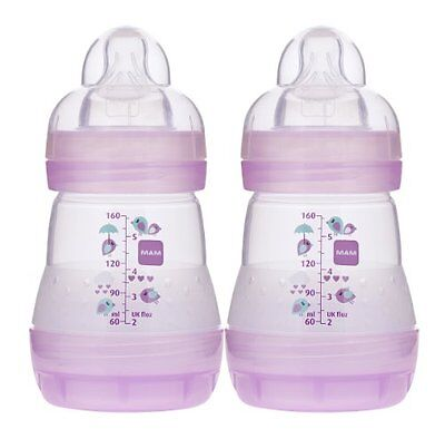 MAM Anti-Colic Bottle, Pink, 5 Ounce, 2-Count , New, Free Shipping