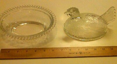 HEAVY LARGE SIZE Antique Vintage INDIANA HEN on NEST CLEAR GLASS COVRED DISH