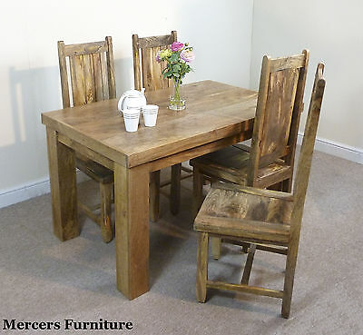 Mantis Light Natural Solid Mango 135cm Dining Table & 4 Chairs Mercers Furniture