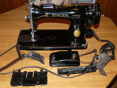 Vintage 1948 Singer Gear-Driven Model 15-91 Sewing Machine with Pedal Switch