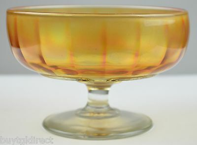 """Vintage Marigold Iridescent Carnival Glass Compote 5.25"""" Round Footed Candy Dish"""