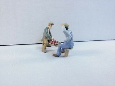 Arttista Checker players on bench #1461 O Scale On30 figures people Artista New