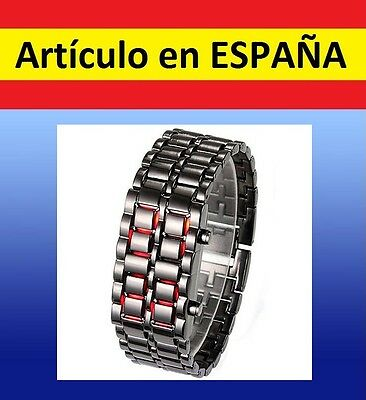 Reloj de pulsera ACERO digital Samurai LAVA WATCH brazalete luz led inoxidable