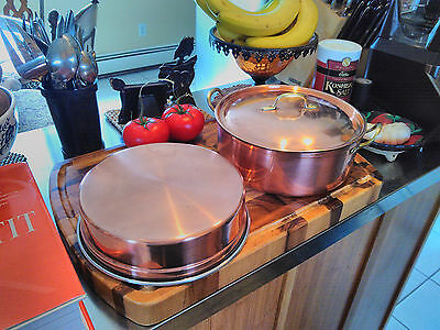 Vintage Copper double boiler with solid brass handles Tagus Portugal #r84