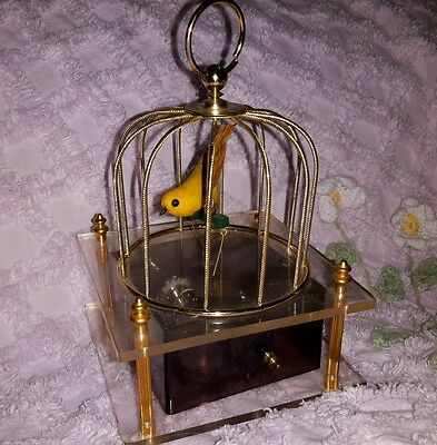 SPECTACULAR Vintage Automaton Animated Singing Bird in a Cage Music Box Japan