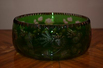 VINTAGE BOHEMIAN GREEN/EMERALD CUT TO CLEAR CRYSTAL GLASS BOWL WITH FLOWERS.RARE