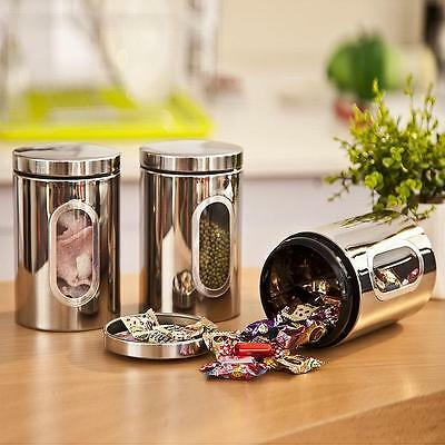 Good Stainless Steel Tea Coffee Sugar Jars Canisters Storage Jar Kitchen Contain