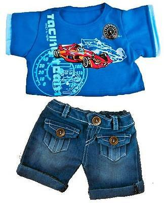 "RACING CAR T-SHIRT, JEANS OUTFIT FOR 16"" /40cm TEDDY BEAR & BUILD YOUR OWN BEARS"