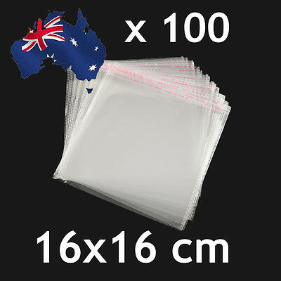 100pcs Self Adhesive Self Seal Cellophane Resealable Clear Plastic Bags 16 x16cm
