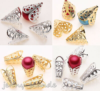 25/50PCS Gold Silver Hollow Cone Filigree Flower Bead End Cap Charm Finding 16mm
