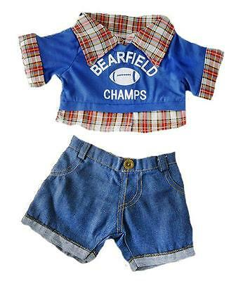 """CHECKED SPORTS FOOTBALL OUTFIT,JEANS FOR 16""""/40cm TEDDIES & BUILD YOUR OWN BEARS"""
