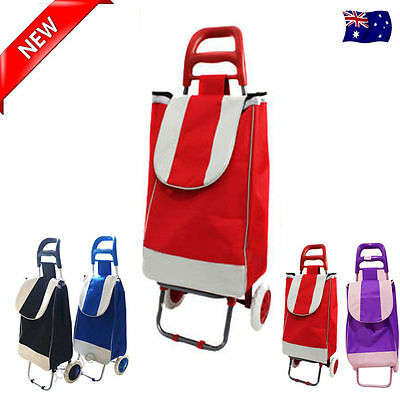 Red New Shopping Market Trolley Foldable Rolling Luggage Cart Bag Basket