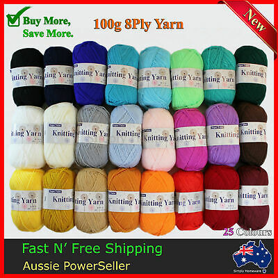 Yarn 8Ply Acrylic Knitting Wool 100g 190m Crochet Ball Bulk Lot Mixed 25 Colours