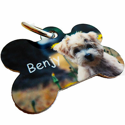 Pet ID Tag - Personalised - Your PHOTO & TEXT  - Dog - BONE Shaped + FREE Gift!