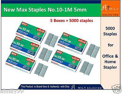 New Max Staples No.10-1M 5mm for Office Home Stapler (5 boxes = 5000 Staples)
