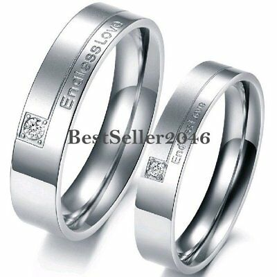 Endless Love Stainless Steel Couples Wedding Band Ring for Engagement Promise