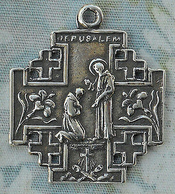 St Francis | Medal | Jerusalem Cross | Catholic | Sterling Silver | Bronze #1269