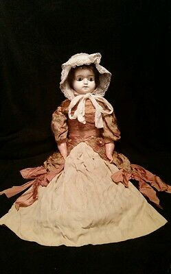Antique Paper-Mache Wax Covered German Doll #738