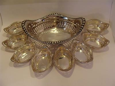 GORHAM Sterling NUT DISHES Large & 8 Small Dishes Beaded & Reticulated Excellent